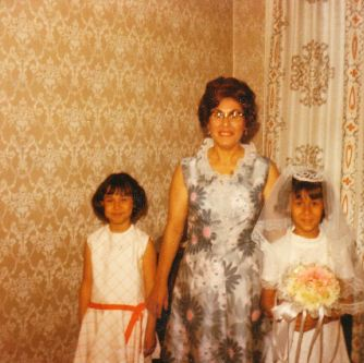 Beautiful Damask walls, Curtains made by Mom, She also made our dresses!!