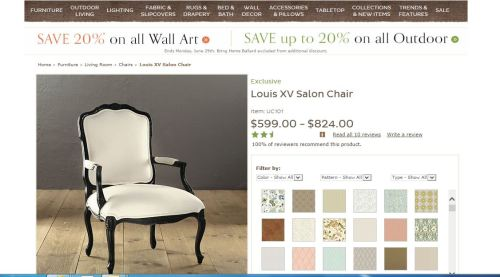 Ballard design Louis xv Salon Chair